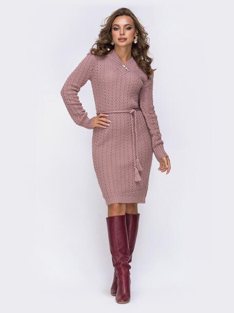 Платье с V-вырезом и съемной брошью розовое 42150, фото 1