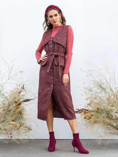 Приталенное платье из твида в клетку бордовое - 40638, фото 1 – интернет-магазин Dressa