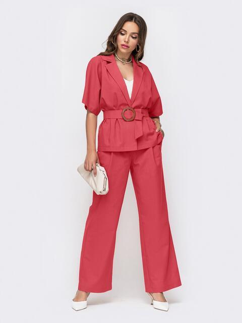 Розовый костюм из жакета и брюк-клеш 49961, фото 1