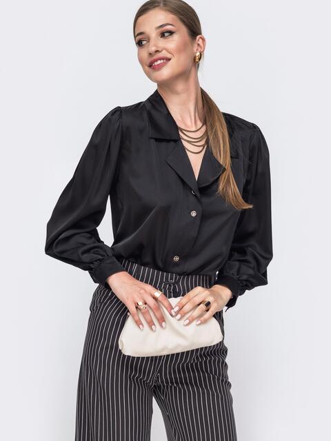 Шелковая блузка свободного кроя с объемными рукавами чёрная 49415, фото 1