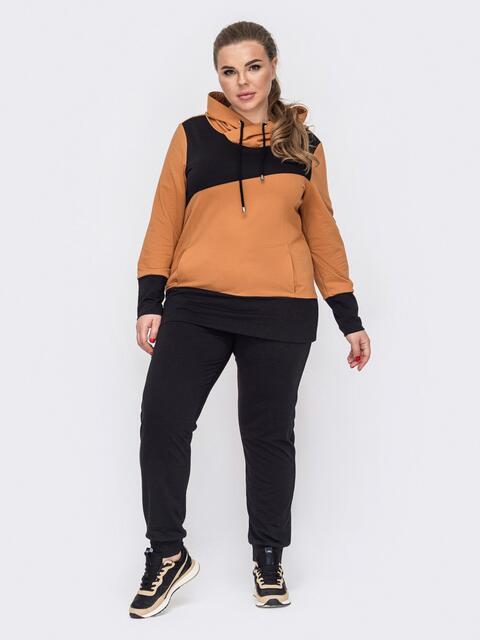 Спортивный костюм батал из худи оранжевого цвета и штанов 53246, фото 1