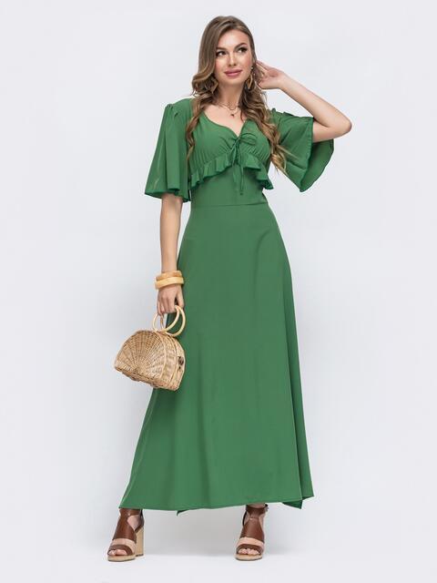 Зелёное платье с оборками на лифе и рукавами-воланами 48490, фото 1