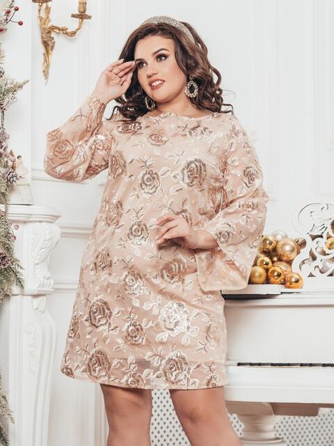 Бежевое платье большого размера из гипюра с пайетками 43288, фото 1