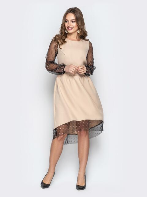 Бежевое платье с юбкой-клёш и фатиновыми рукавами - 20333, фото 1 – интернет-магазин Dressa