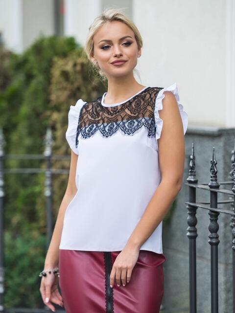 Блузка прямого кроя с кружевной кокеткой белая - 13249, фото 1 – интернет-магазин Dressa