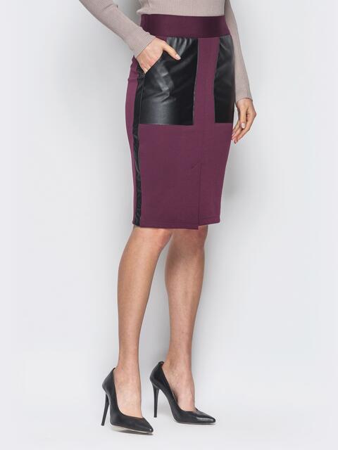 Бордовая юбка-карандаш с кожаными накладными карманами - 19073, фото 1 – интернет-магазин Dressa