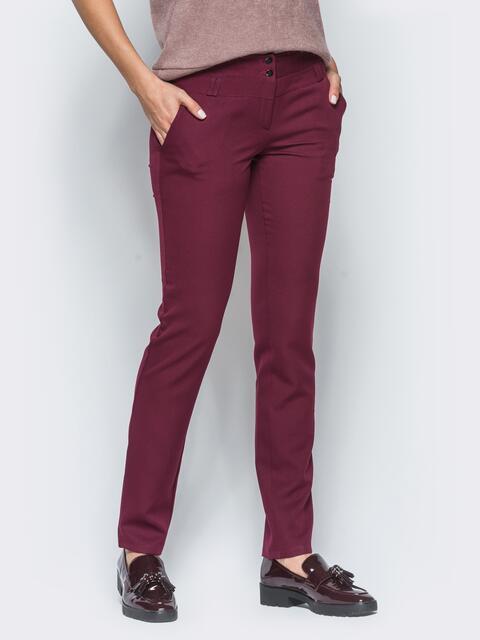 Бордовые брюки с двойными шлёвками для пояса 16495, фото 1