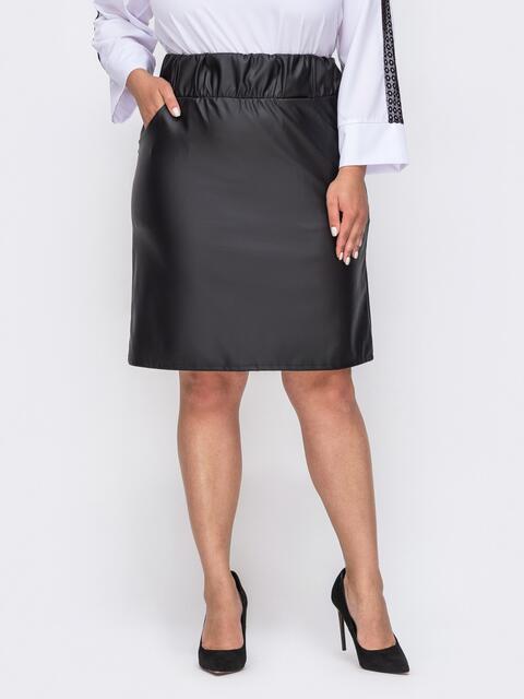 Черная юбка большого размера с резинкой в поясе 49857, фото 1
