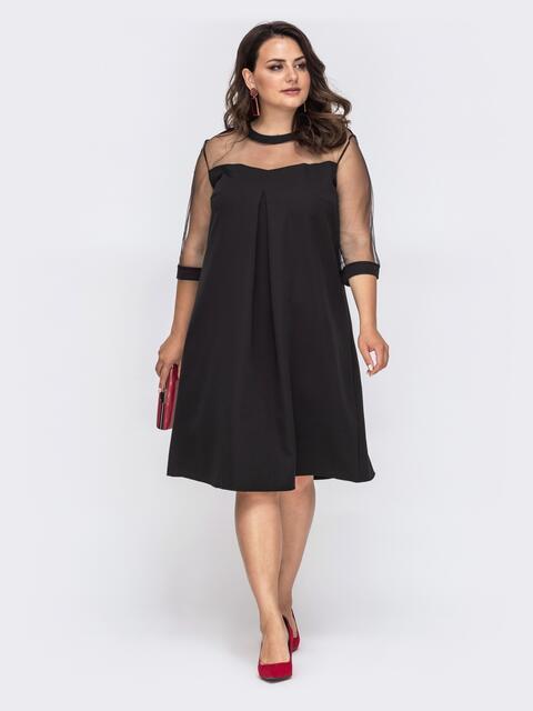 Черное платье батал с кокеткой и рукавами из сетки 49859, фото 1