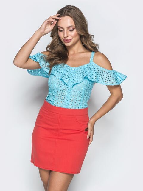 Голубой топ из прошвы с открытыми плечами - 39064, фото 1 – интернет-магазин Dressa