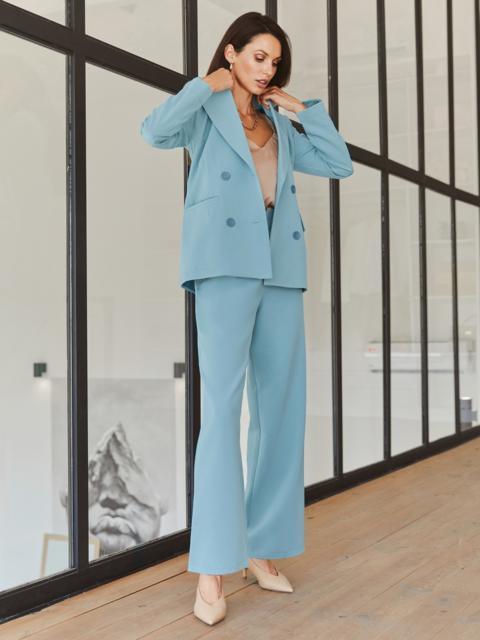 Классический брючный костюм с пиджаком голубой 55052, фото 1