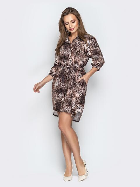 Коричневое платье-рубашка с анималистическим принтом и поясом - 21382, фото 1 – интернет-магазин Dressa