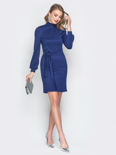 Синее платье с вырезами на рукавах - 19081, фото 1 – интернет-магазин Dressa