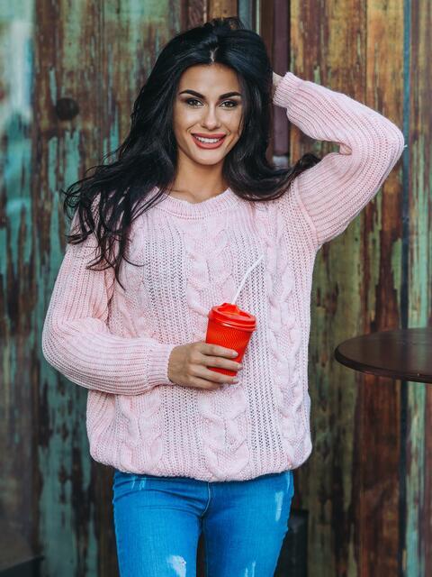 Свитер с вязаными косами на полочке розовый - 13055, фото 1 – интернет-магазин Dressa