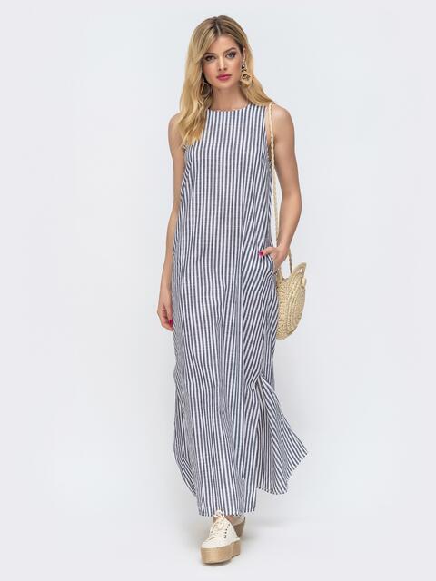 Свободное платье-макси в полоску серое 46810, фото 1
