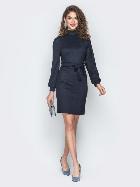 Темно-синее платье с вырезами на рукавах - 18650, фото 1 – интернет-магазин Dressa