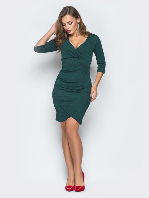 Зеленое платье с фиксированым запахом и драпировкой - 18653, фото 1 – интернет-магазин Dressa
