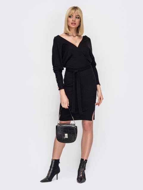 Платье с глубоким вырезом по спинке чёрное 52998, фото 1