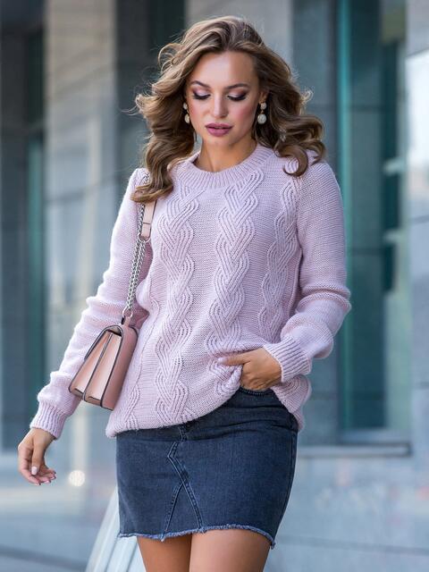 Ажурный свитер с резинкой на манжетах пудровый - 41172, фото 1 – интернет-магазин Dressa