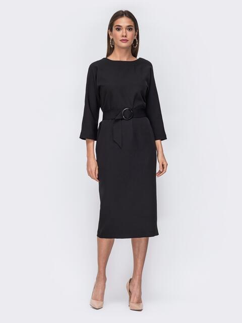 Чёрное платье-миди с цельнокроеным рукавом - 43195, фото 1 – интернет-магазин Dressa