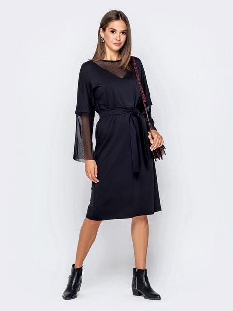 Чёрное платье с цельнокроеным рукавом и фатиновыми вставками - 40950, фото 1 – интернет-магазин Dressa
