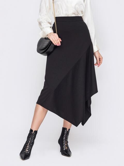 Длинная юбка-трапеция с асимметричным низом черная 52982, фото 1
