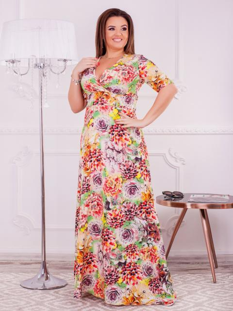 Длинное платье батал с цветочным принтом 47611, фото 1