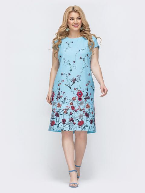 Голубое платье батал с цветочным принтом 46421, фото 1