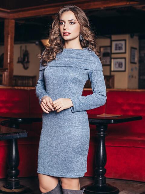 """Голубое платье с воротником """"берта"""" - 18717, фото 1 – интернет-магазин Dressa"""