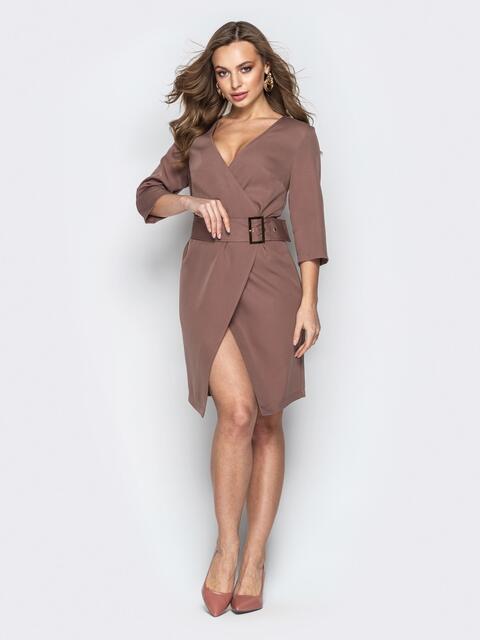 Кофейное платье с запахом и вшитым поясом - 20806, фото 1 – интернет-магазин Dressa