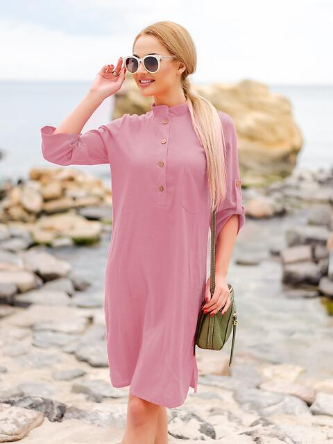 Розовое льняное платье-рубашка прямого кроя с пуговицами 49689, фото 1