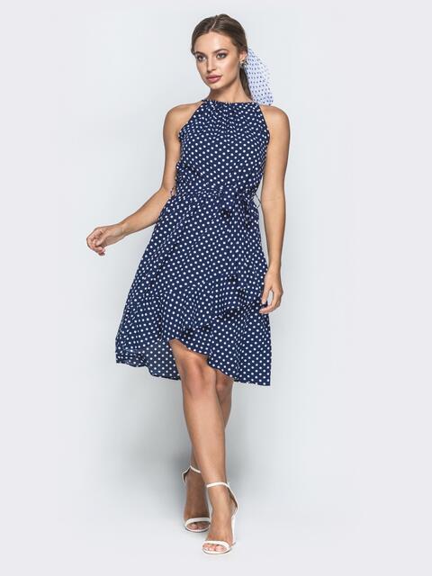 Синее платье в горох с американской проймой и юбкой на запах - 39133, фото 1 – интернет-магазин Dressa