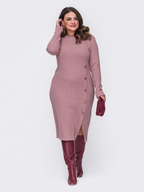 Трикотажное платье батал приталенного кроя розовое 50979, фото 1