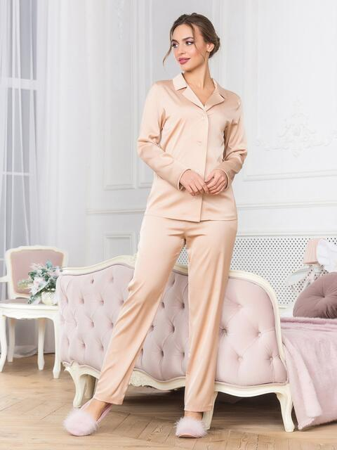 Бежевая пижама с рубашкой и брюками - 18950, фото 1 – интернет-магазин Dressa