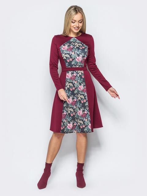 Бордовое платье с цветочным принтом на полочке - 17600, фото 1 – интернет-магазин Dressa