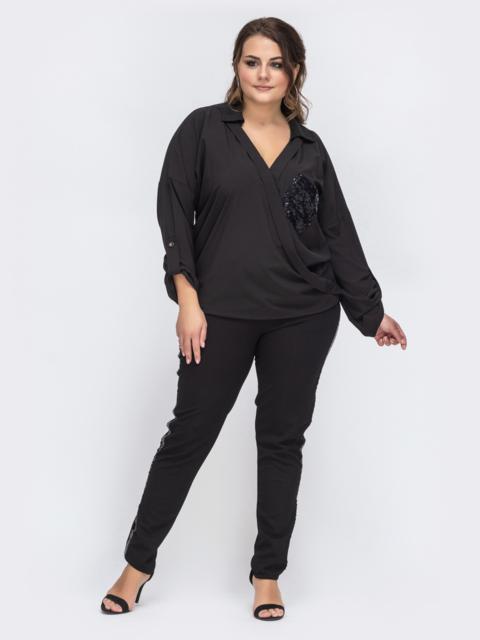 Брючный комплект батал с пайетками на блузке чёрный 43765, фото 1