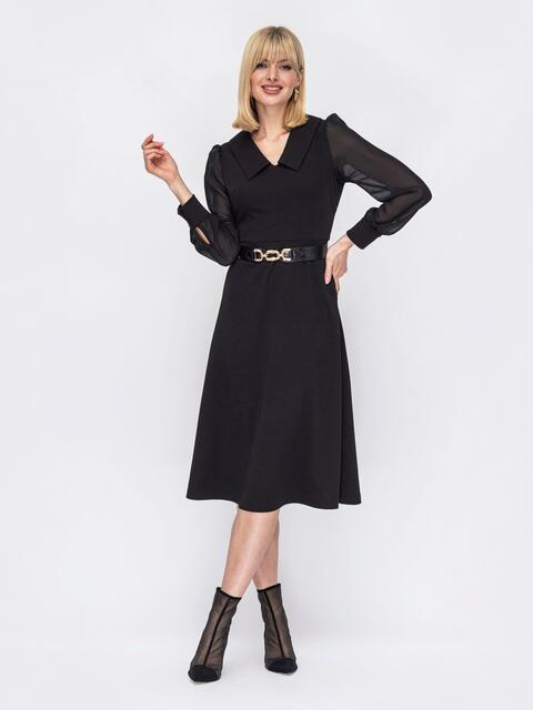 Черное платье с рукавами из шифона и воротником «челси» 52974, фото 1