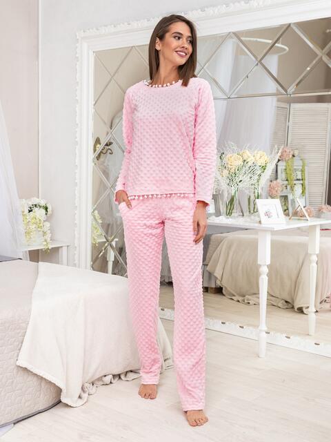 Фактурная пижама из плюша с брюками и кофтой розовая - 20412, фото 1 – интернет-магазин Dressa