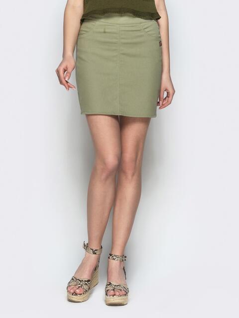 Хлопковая юбка-мини зеленого цвета 22048, фото 1