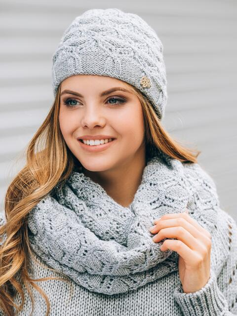 Светло-серые шапка с утеплением и хомут - 14879, фото 1 – интернет-магазин Dressa