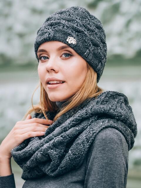 Тёмно-серые шапка с утеплением и хомут - 14878, фото 1 – интернет-магазин Dressa