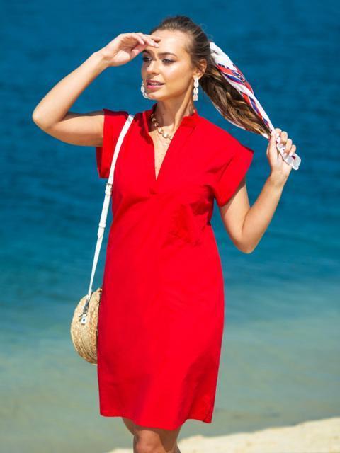 Красное платье с V-вырезом и накладным карманом - 38883, фото 1 – интернет-магазин Dressa