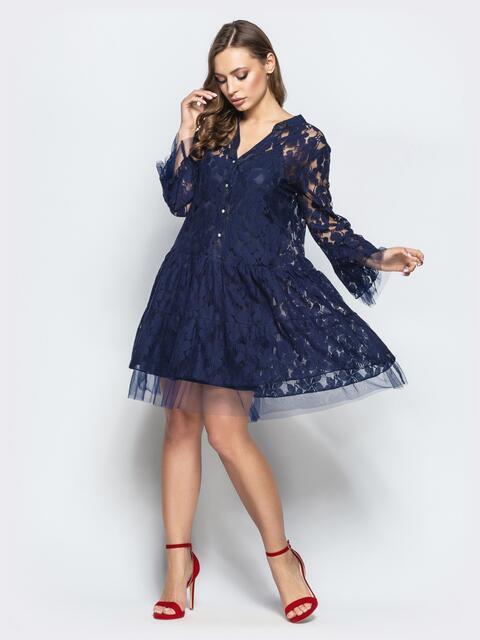Кружевное платье-рубашка с двухъярусным низом синее - 22261, фото 1 – интернет-магазин Dressa