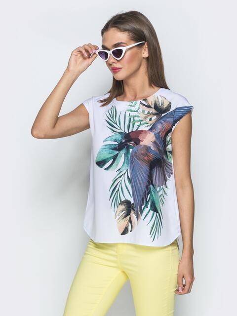 Принтованная блузка без рукавов белая - 39521, фото 1 – интернет-магазин Dressa