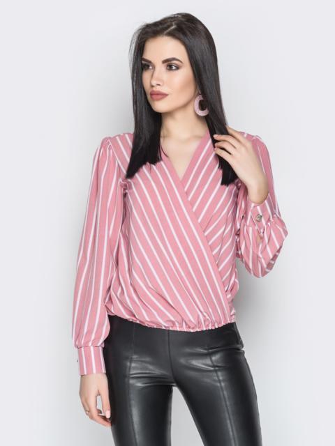 Пудровая блузка в полоску с фиксированным запахом и V-вырезом - 20716, фото 1 – интернет-магазин Dressa