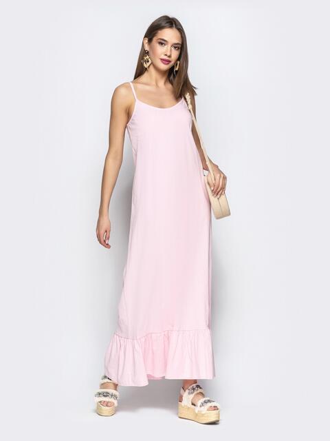 Сарафан из льна в этно-стиле с оборкой по низу розовый - 21938, фото 1 – интернет-магазин Dressa