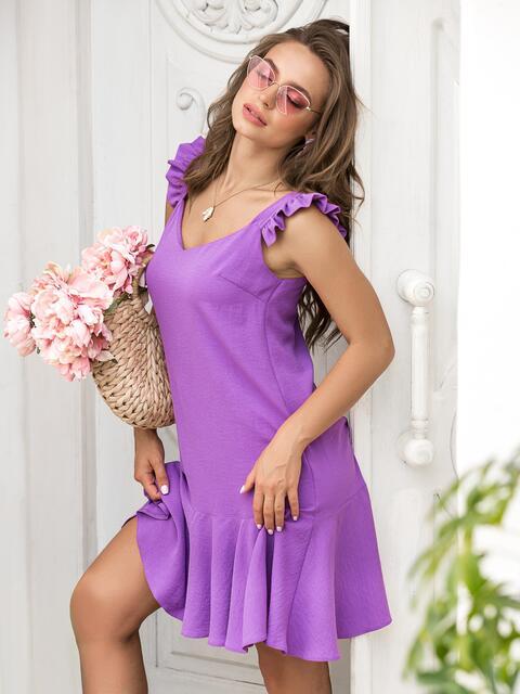 Сиреневое платье-мини с воланом по низу - 39299, фото 1 – интернет-магазин Dressa