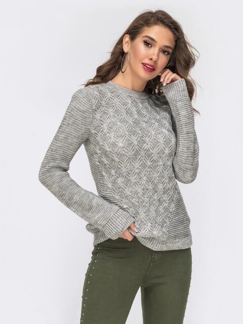 Ажурный свитер из шерсти с акрилом серого цвета 42326, фото 1
