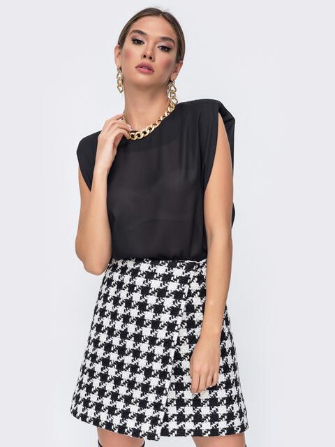 Чёрная блузка oversize с уплотненными плечами 52386, фото 1
