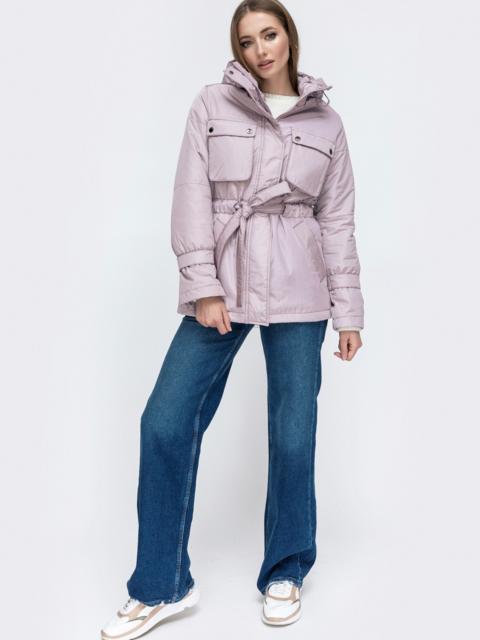 Демисезонная куртка с кулиской по талии пудра 45170, фото 1